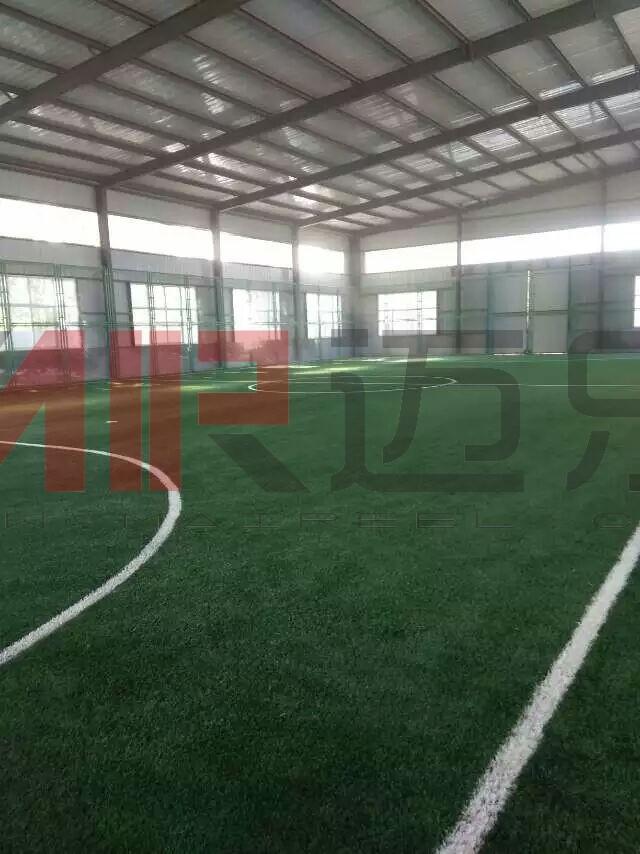 湖南永州室内人造草坪足球场地施工案例图片