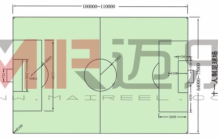 足球场地标准尺寸图文解说(足球场尺寸)