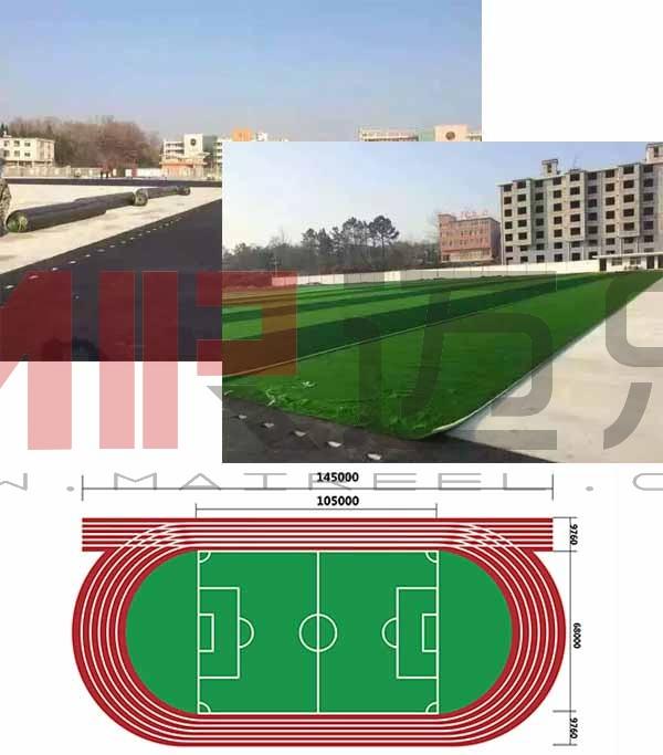 人造草坪足球场地标准尺寸铺装施工图
