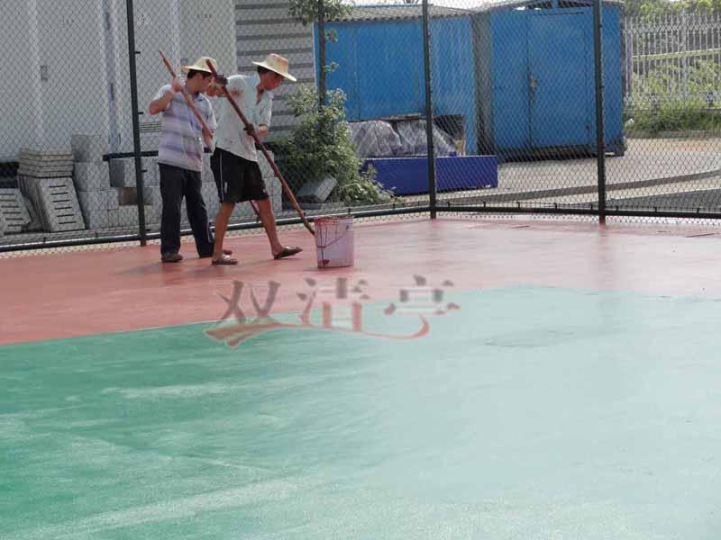 邵阳市宝庆电厂硅pu球场塑胶篮球场辊球场面漆