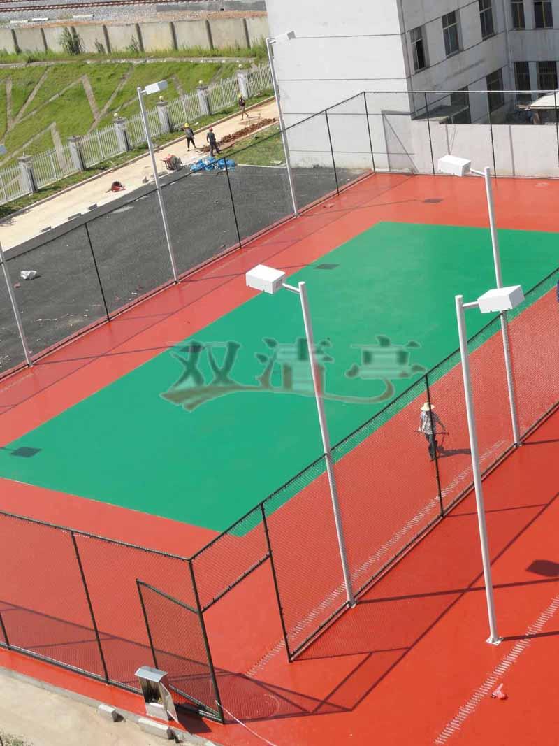 邵阳市宝庆电厂硅pu球场塑胶网球场球场面漆辊完后效果