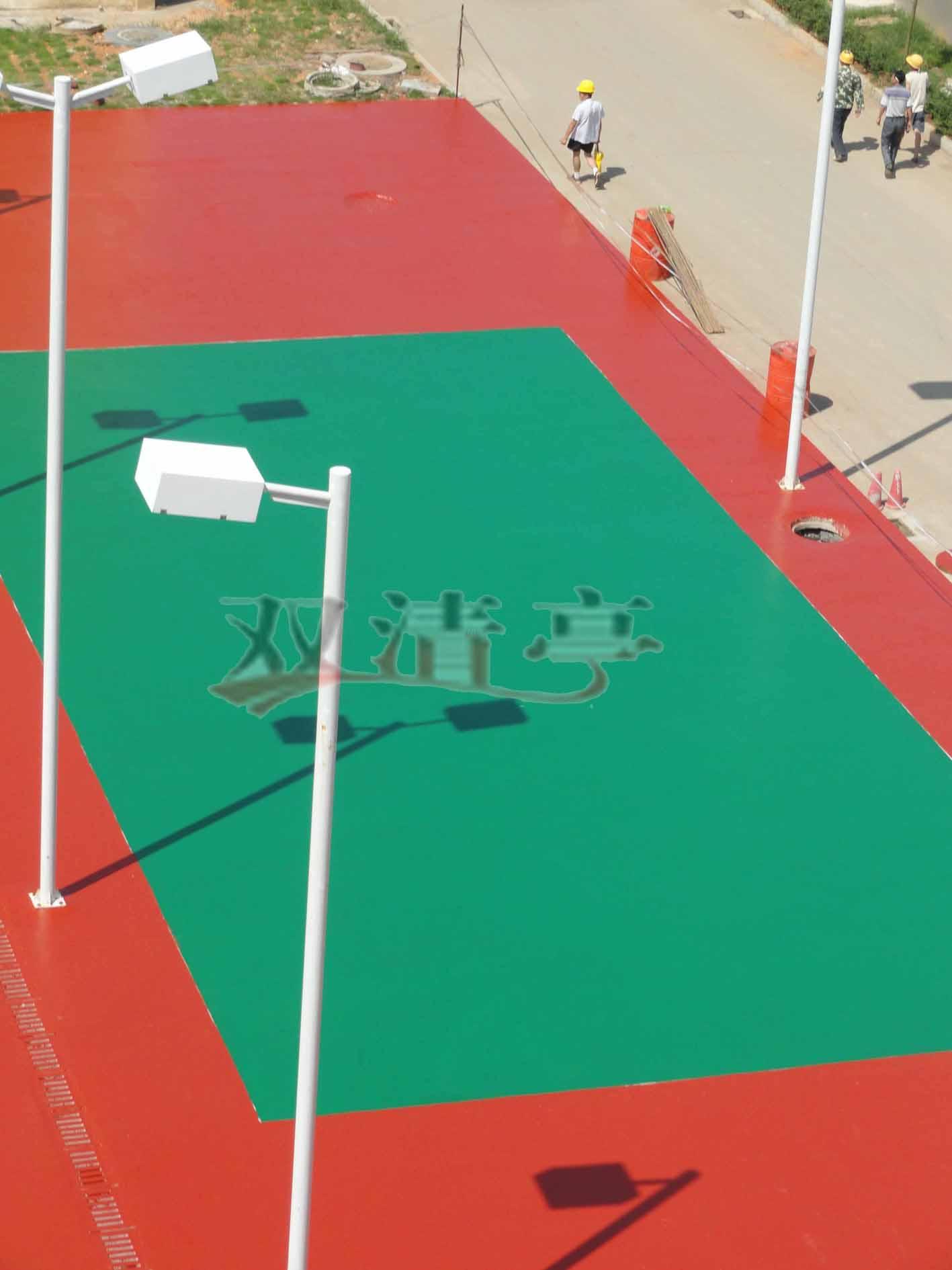 邵阳市宝庆电厂硅pu球场塑胶排球场球场面漆辊完后效果
