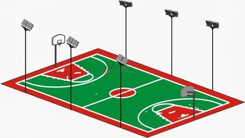 塑胶篮球场灯光配置示意图