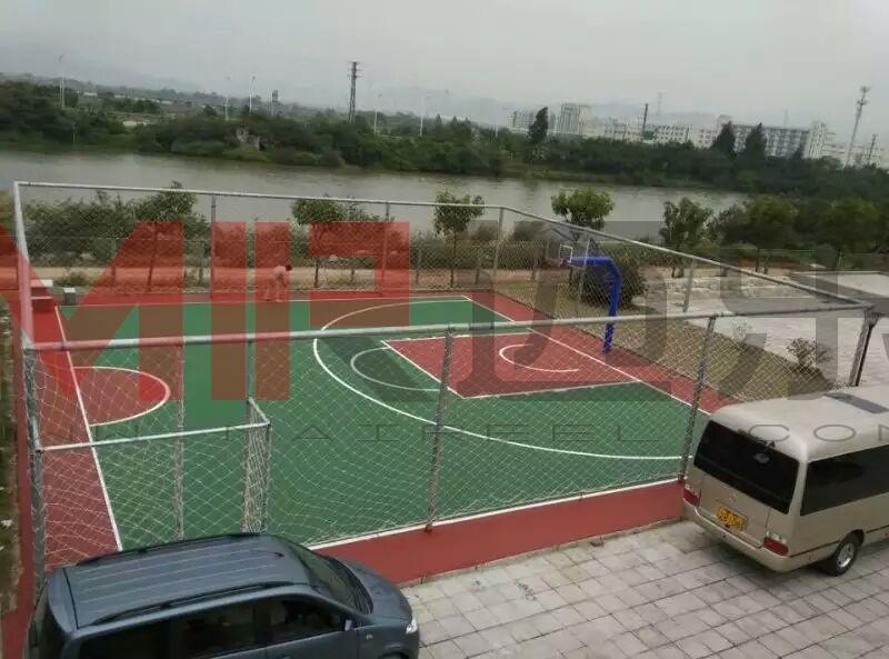 湖南某公共区域硅pu塑胶篮球场划线施工