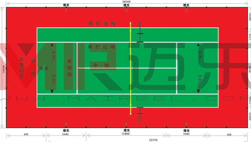 网球场灯光配置示意图
