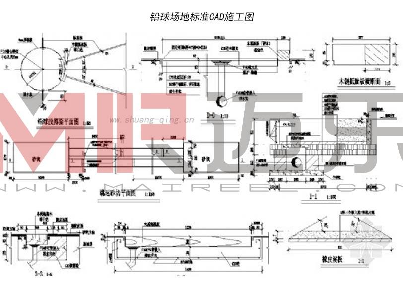 铅球场地标准画法(平面图 cad图)